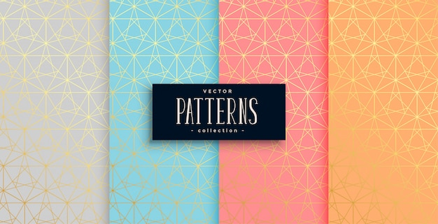 Geometric pastel color gold pattern set of four Free Vector