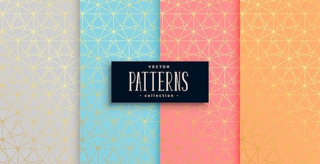 Геометрический пастельный цвет золотой узор набор из четырех Бесплатные векторы