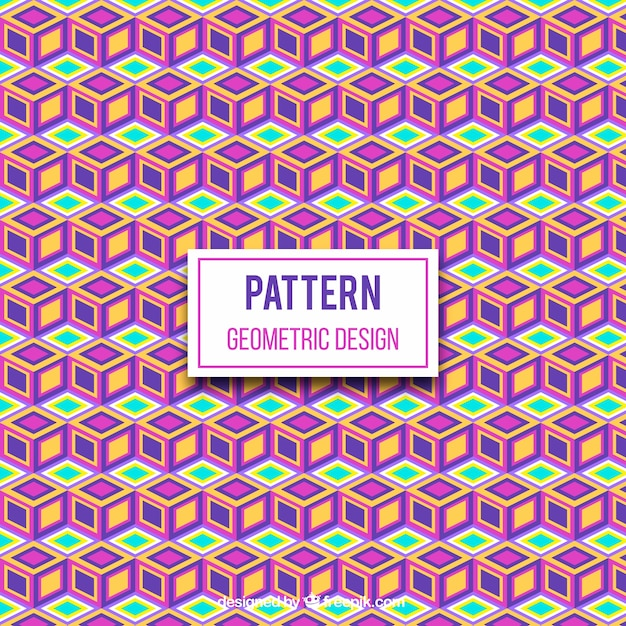 Geometric pattern of colored cubes