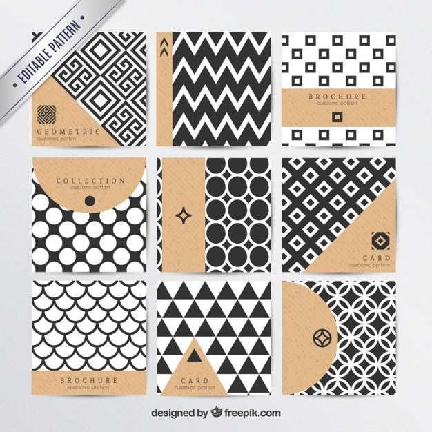 Geometric patterns in modern style Free Vector