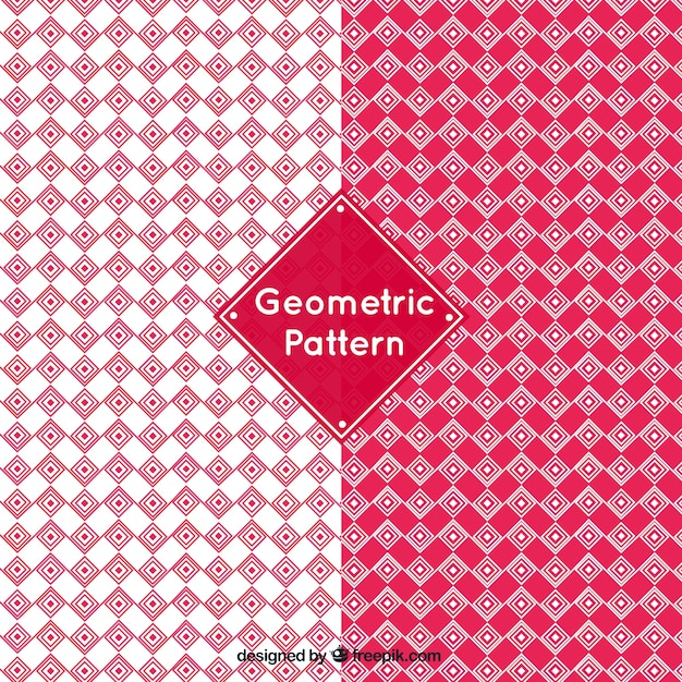 Geometric patterns in red tones Free Vector