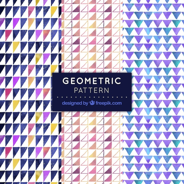 Geometric patterns of watercolor triangles pack