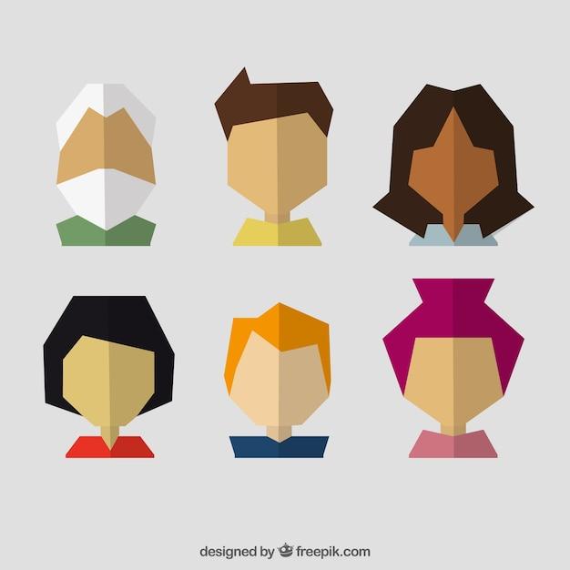 geometric people avatars in flat design vector free download