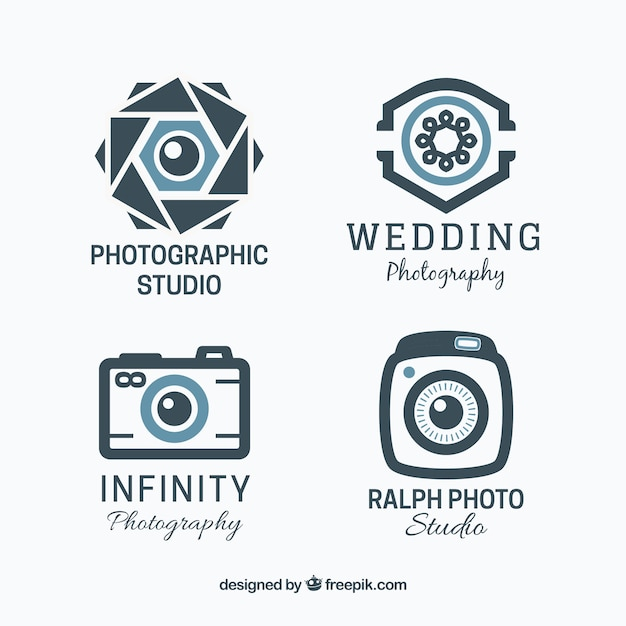 Wedding Photography Studio Logo: Geometric Photography Logo Collection Vector