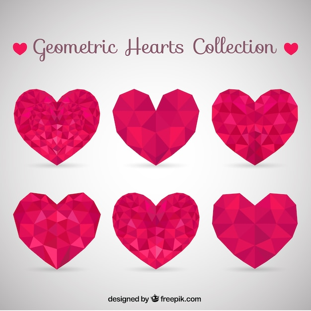 Geometric pink hearts collection Free Vector