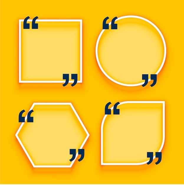 Геометрические цитаты коробки на желтом фоне Бесплатные векторы
