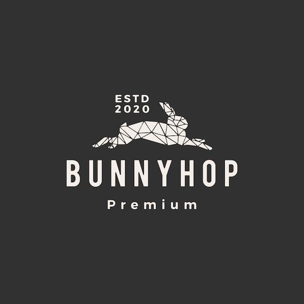 Геометрический кролик кролик хоп битник старинный логотип значок иллюстрации Premium векторы