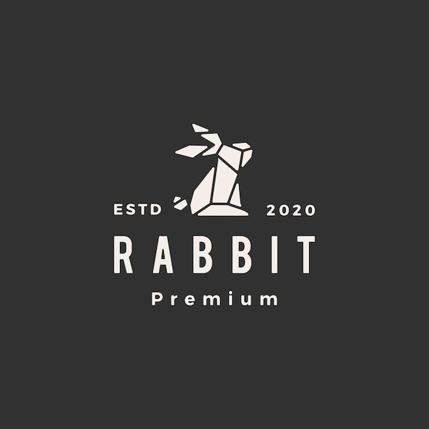 Геометрический кролик заяц кролик битник старинный логотип значок иллюстрации Premium векторы