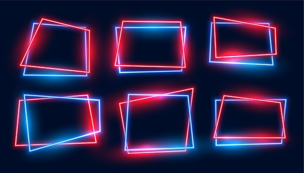 Geometric rectangular neon frames set in red and blue colors Free Vector