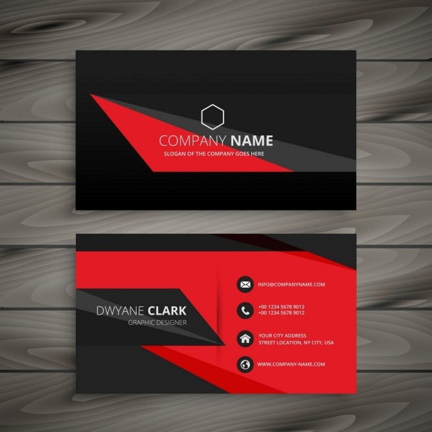 geometric red and black business card vector free download