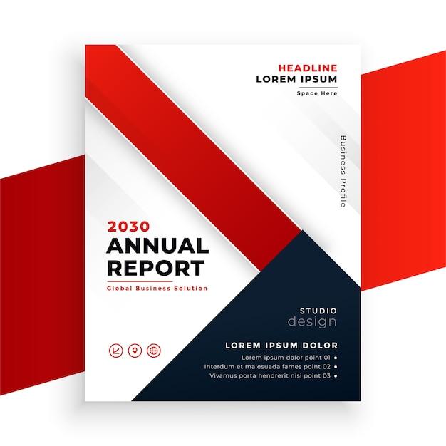 Геометрический красный цвет годовой отчет дизайн бизнес-брошюры Бесплатные векторы