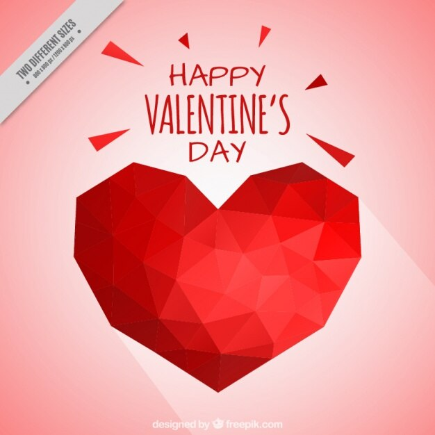 Geometric red heart background Free Vector