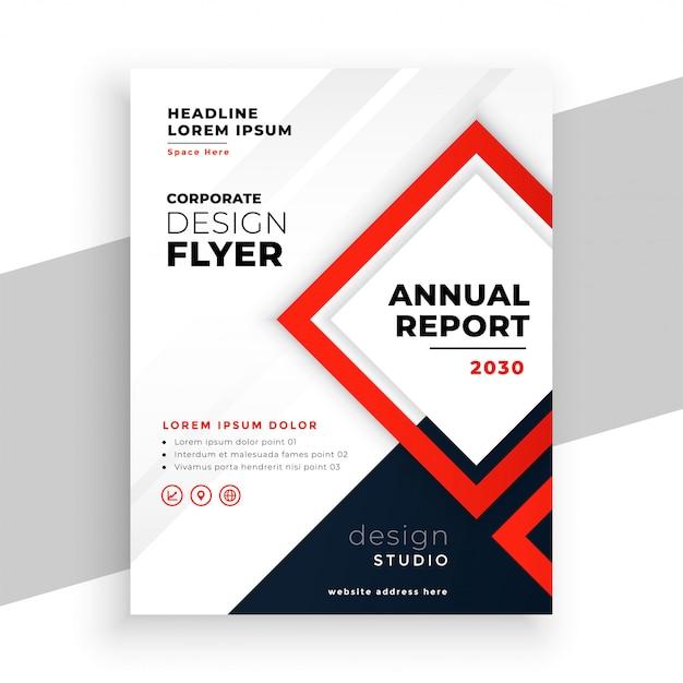 Геометрический красный современный годовой отчет бизнес флаер шаблон Бесплатные векторы