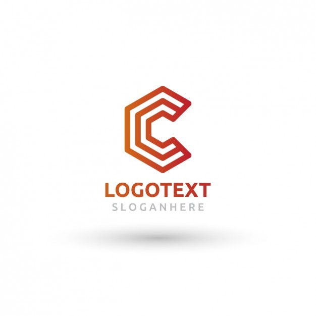 Geometric red and orange logo in c shape Free Vector