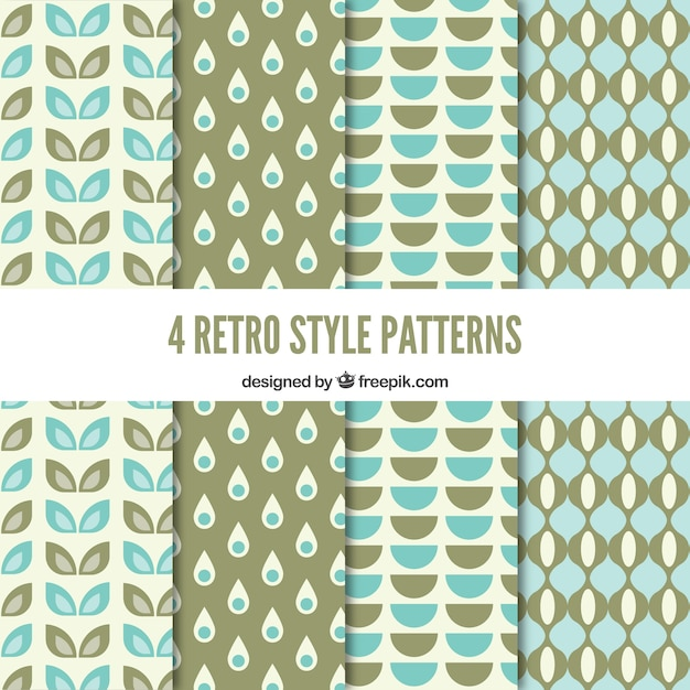 Geometric retro patterns in blue and green tones
