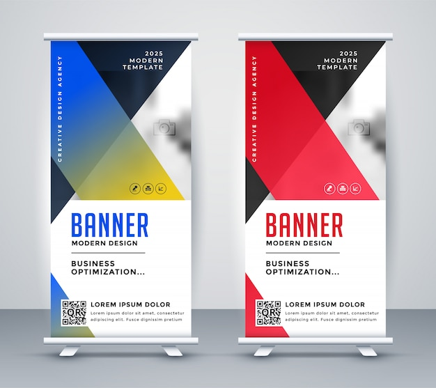 Geometric rollup modern business banner design Free Vector
