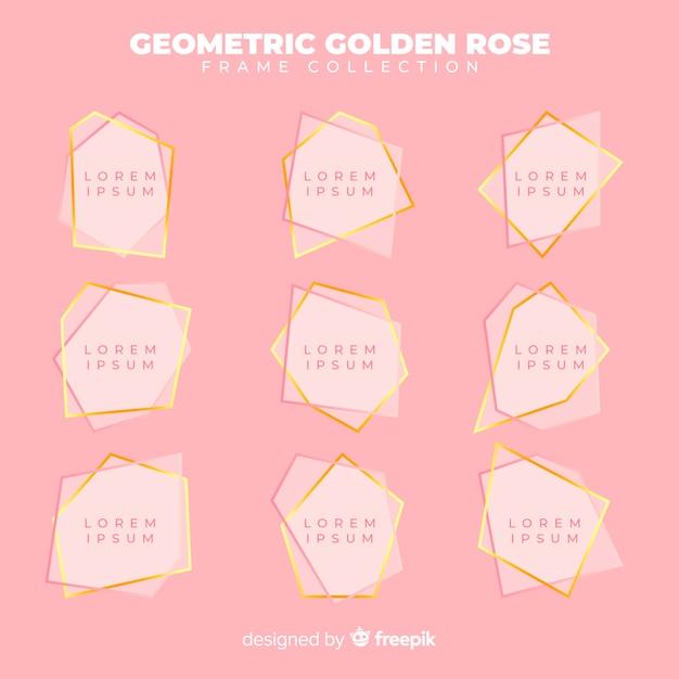 幾何学的なローズゴールドフレームコレクション 無料ベクター