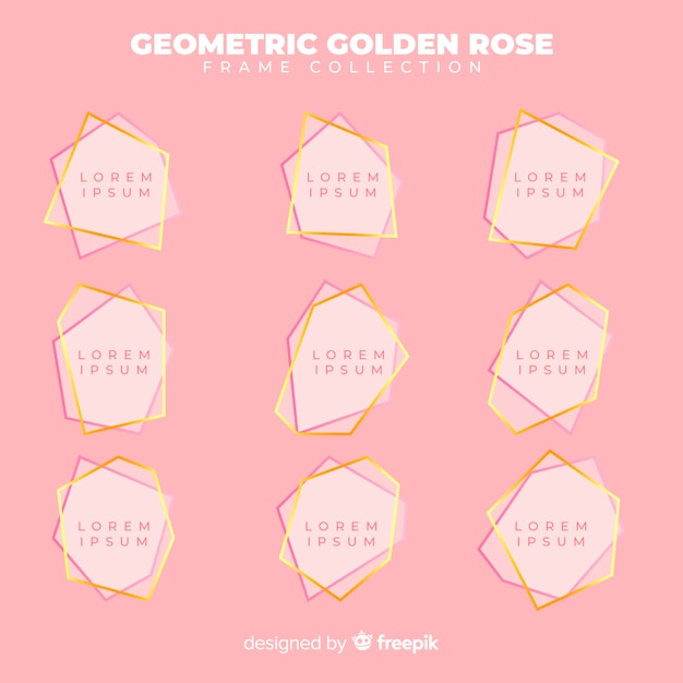 Geometric rose gold frame collection Free Vector