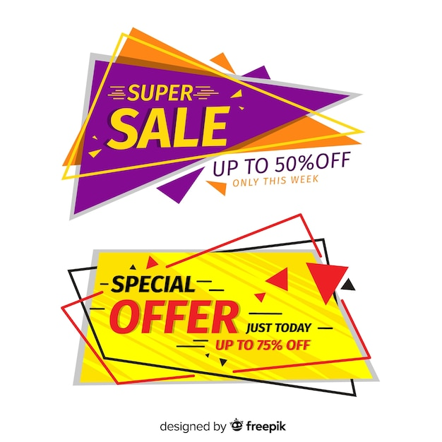 Geometric sale banner collection Free Vector