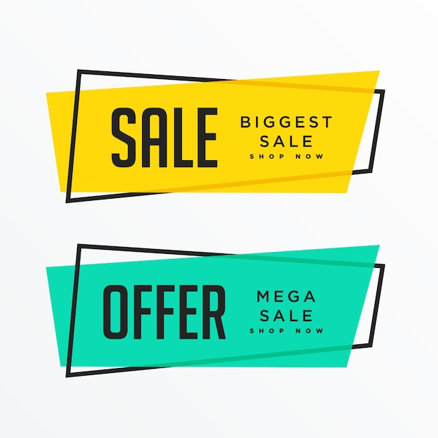 geometric sale banners with text space Free Vector