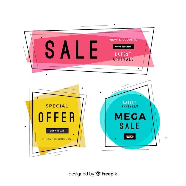 Geometric sale banners Free Vector