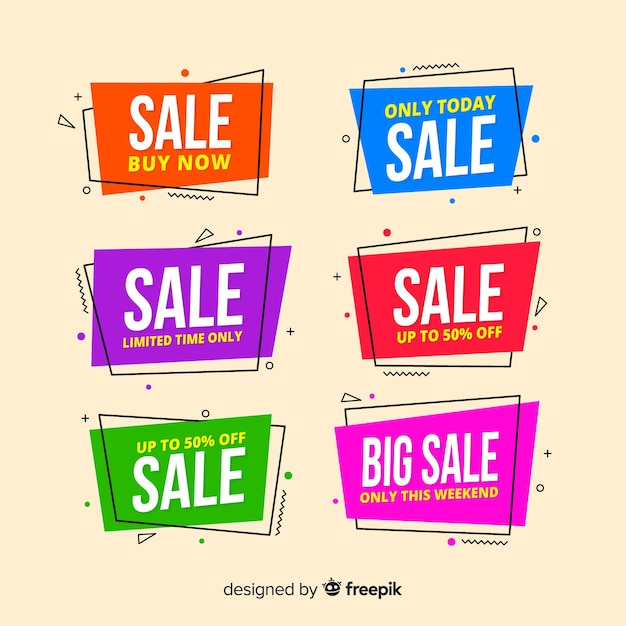Geometric sale banners Free Vector