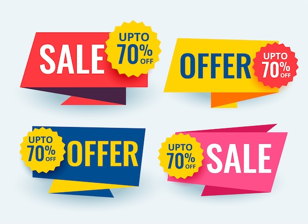 Geometric sale and promotional banners tags template design Free Vector