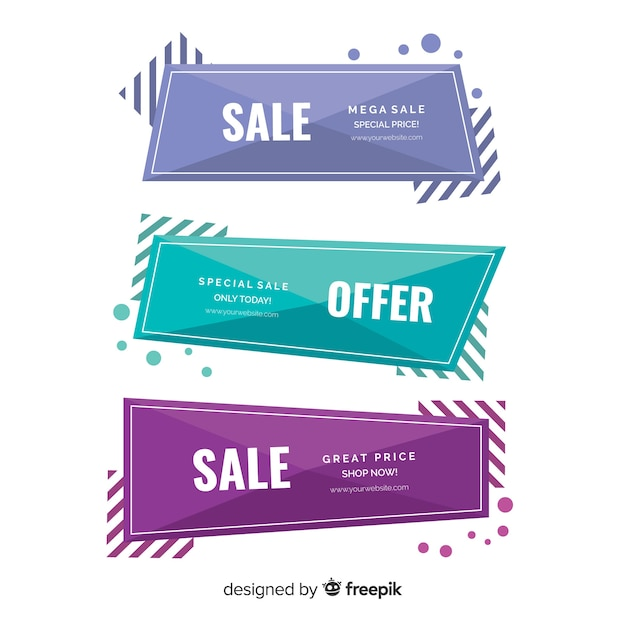 Geometric sales banners Free Vector
