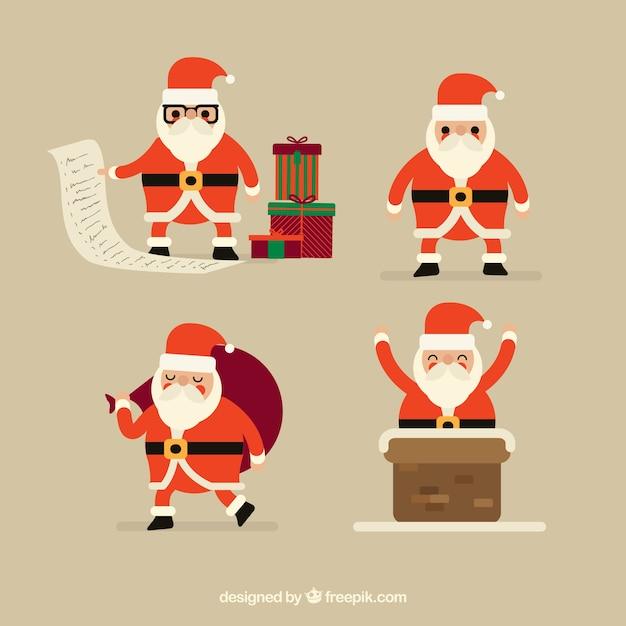 Geometric santa claus ready for christmas celebration Free Vector