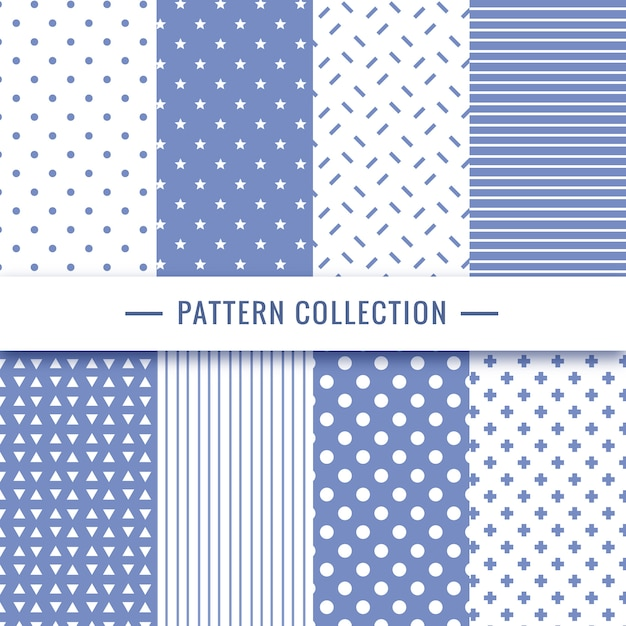 Geometric seamless pattern collection in blue colors Free Vector