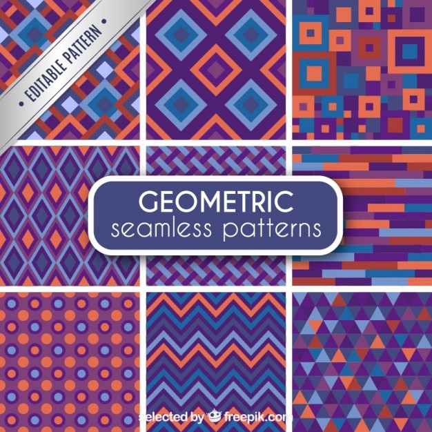 Geometric seamless patterns Free Vector