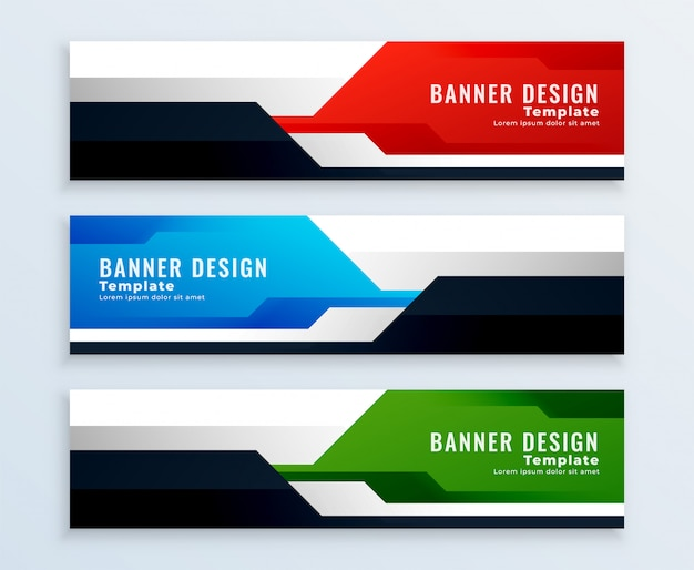 Insieme geometrico di disegni di banner in multicolori Vettore gratuito
