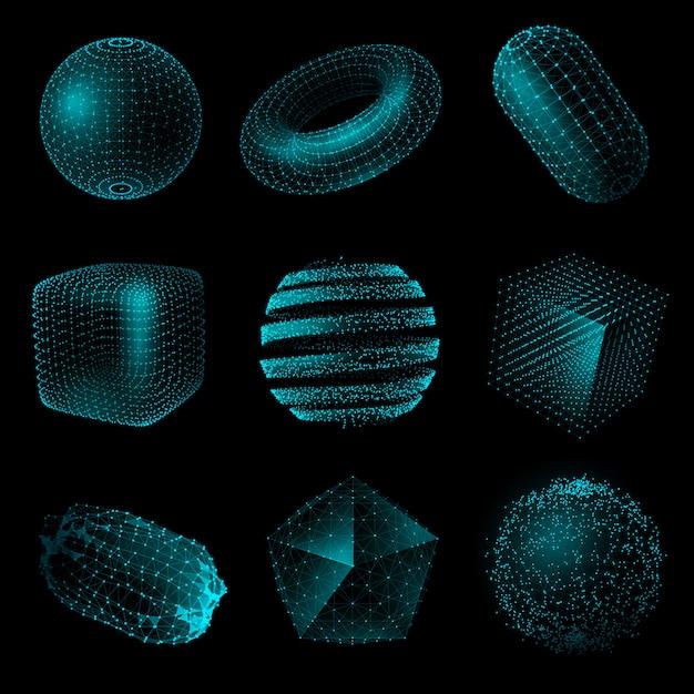 Geometric shape 3d technology style icon set Premium Vector