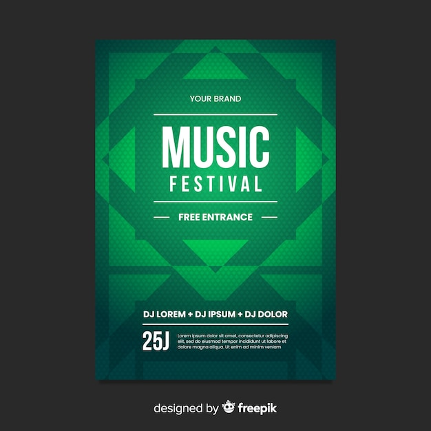 Geometric shape music poster template Free Vector