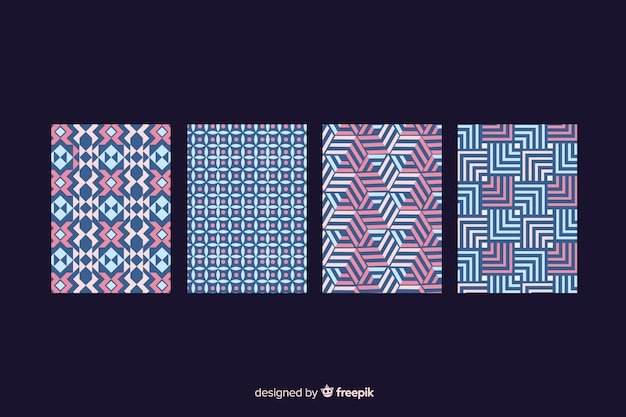 Geometric shape pattern cover collection Free Vector