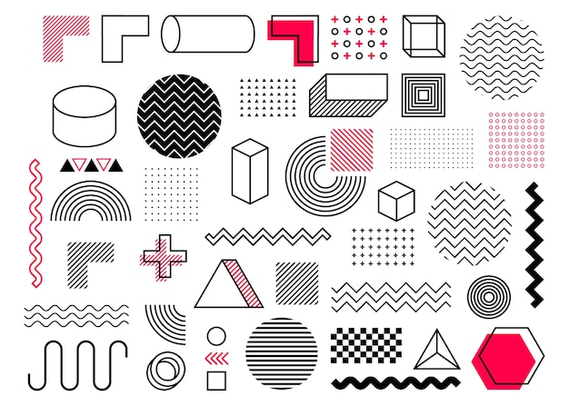 Geometric shape in vintage style. bright color. black abstract geometric shapes set Premium Vector
