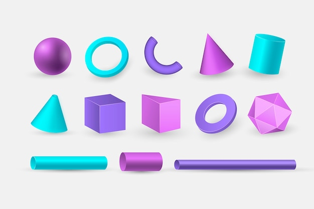 Geometric shapes in 3d effect Free Vector
