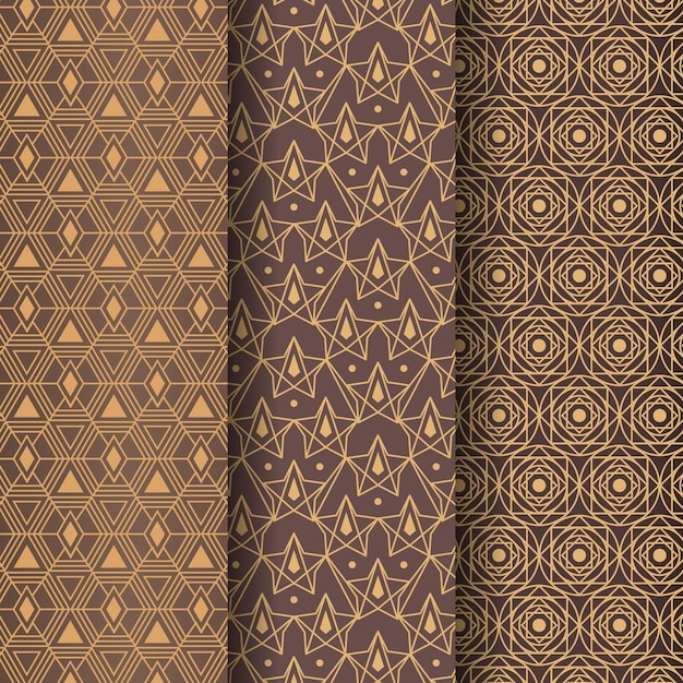 Geometric shapes art deco pattern template Premium Vector