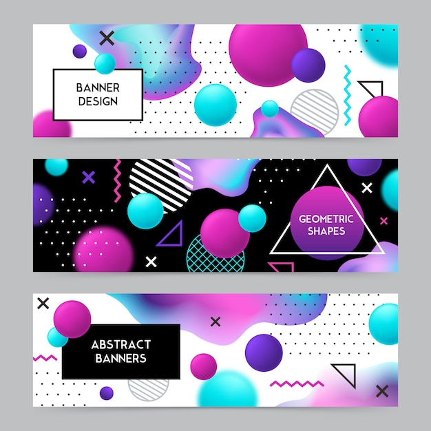Geometric shapes banners background set Free Vector