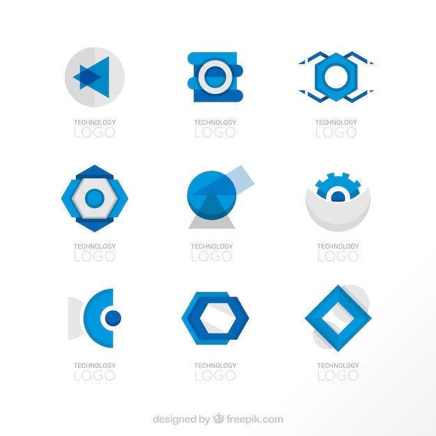 Geometric Shapes Blue Logo Templates