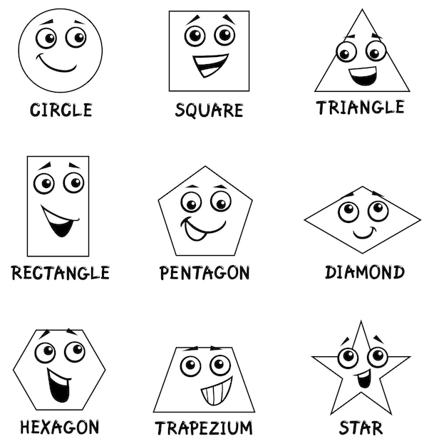 Geometric Shapes coloring book Vector | Premium Download