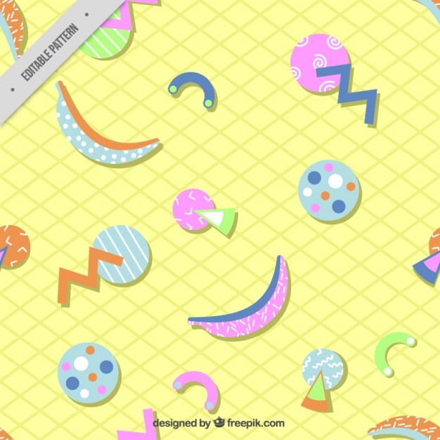 Geometric shapes in colors pattern Free Vector