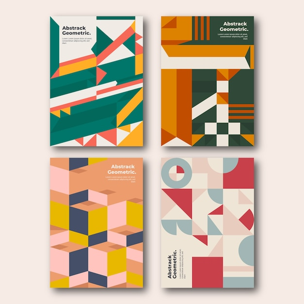 Geometric shapes in colours cover collection Free Vector