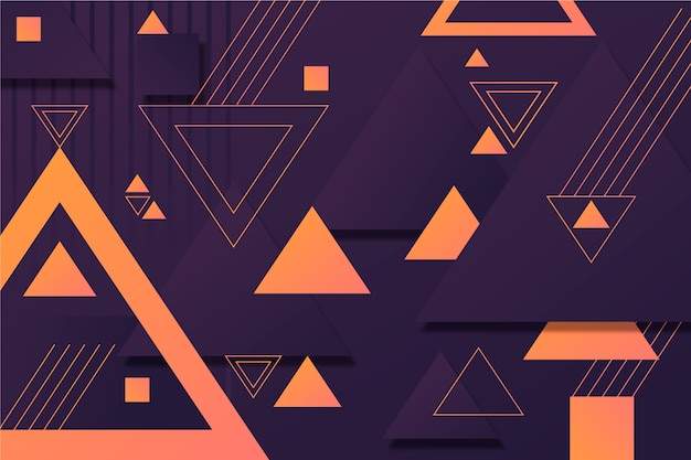 Geometric shapes on dark background Free Vector