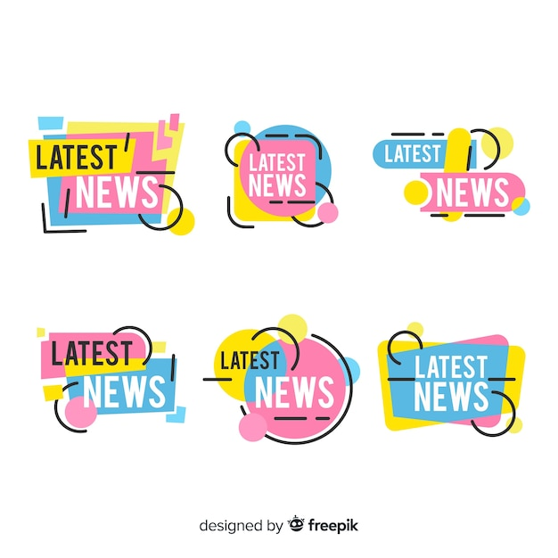 Geometric shapes flat latest news banner set Free Vector