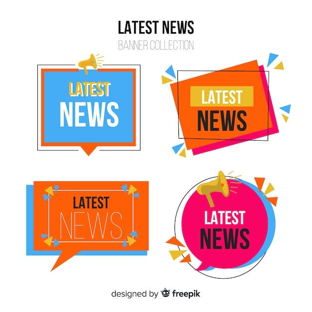 Geometric shapes flat latest news banner set Free Vector