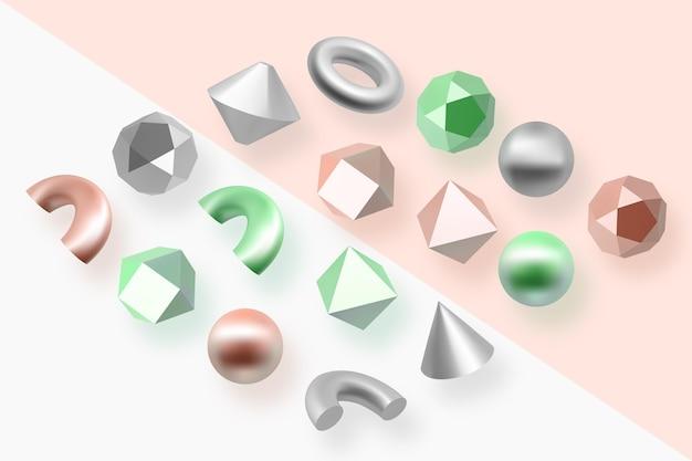 Геометрические фигуры в 3d-эффект Бесплатные векторы