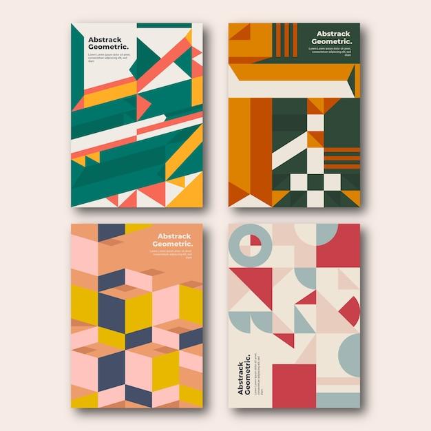 色の幾何学的形状がコレクションをカバー 無料ベクター