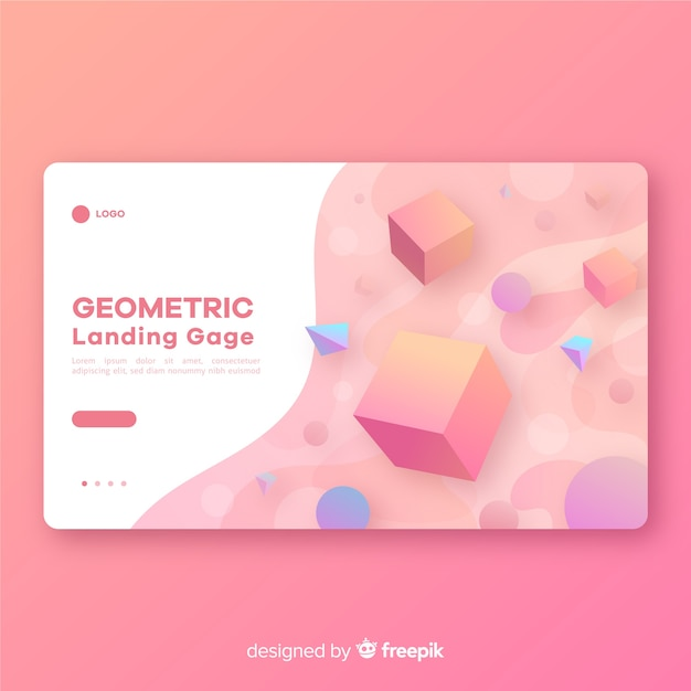 Geometric shapes landing page template Free Vector