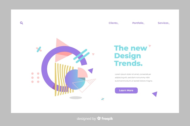 Geometric shapes landing page Free Vector